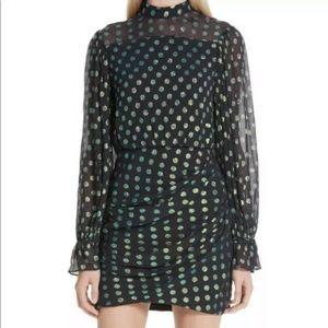 SALONI Rina iridescent polka dot metallic dress 8